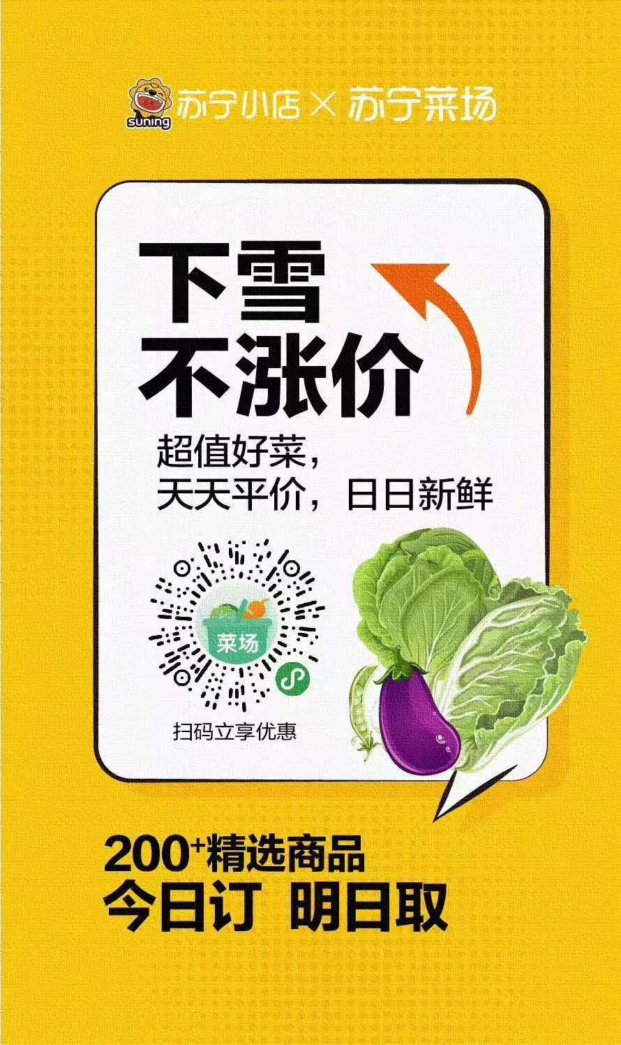 大白菜10斤装仅售3.98元,苏宁菜场遇雪不涨价