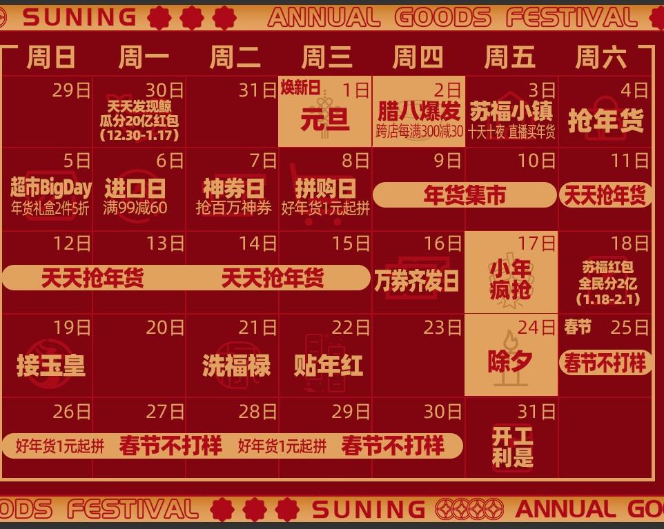 苏宁年货节第一波爆发于12月31日启动