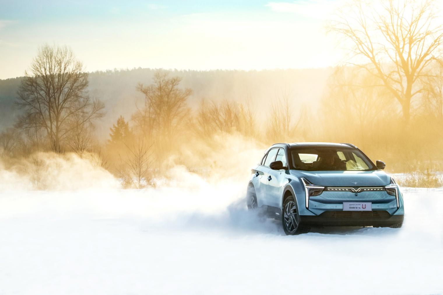 雪地里行驶的汽车 描述已自动生成