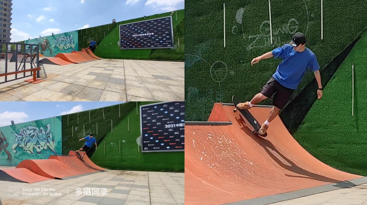 穿绿色衣服的男人在斜坡上玩滑板  描述已自动生成