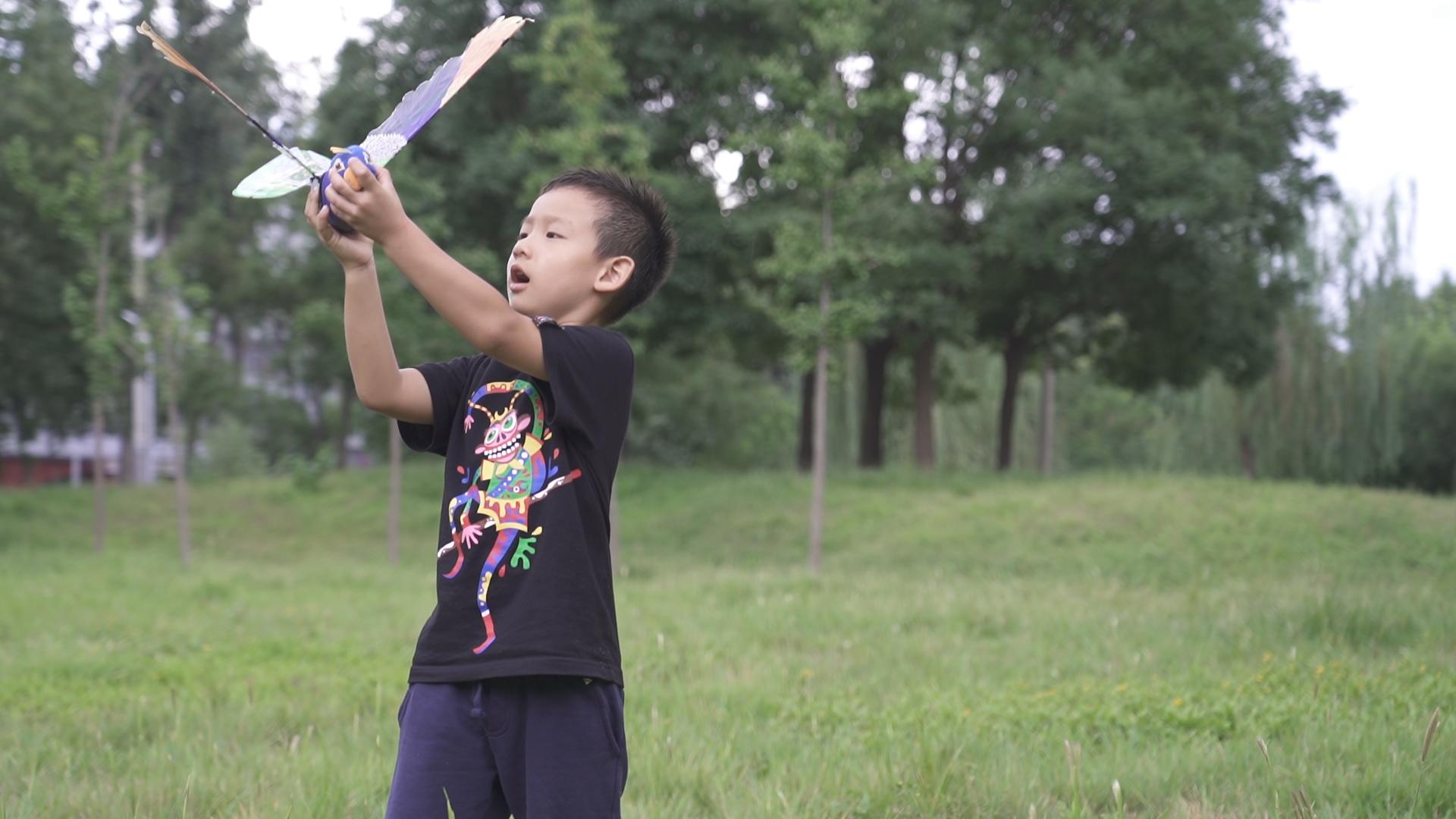 小孩在草地上玩飞盘中度可信度描述已自动生成